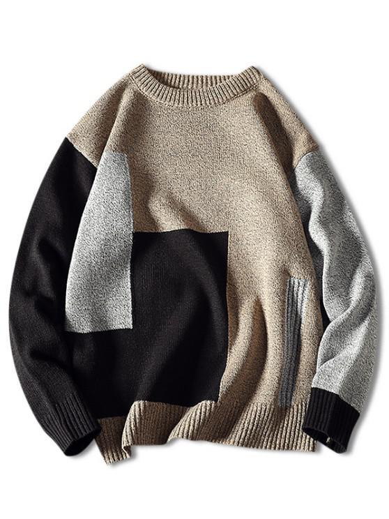 Kontrast Geometrischer Muster Pullover mit Rundhalsausschnitt - Beige  XS