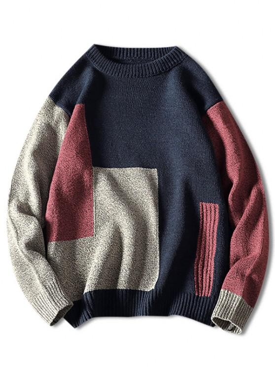 fashion Crew Neck Contrast Geometric Pattern Sweater - CADETBLUE M