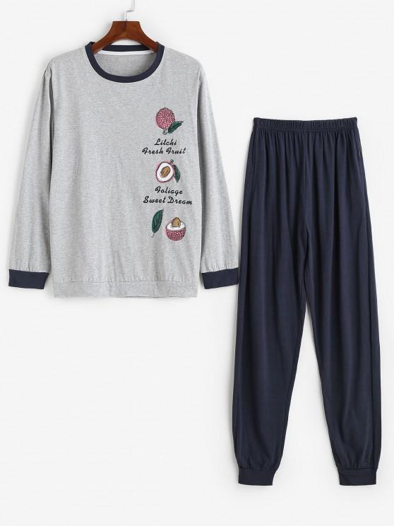 Litchi Pattern Letter Graphic Pajama Set - اللون الرمادي L