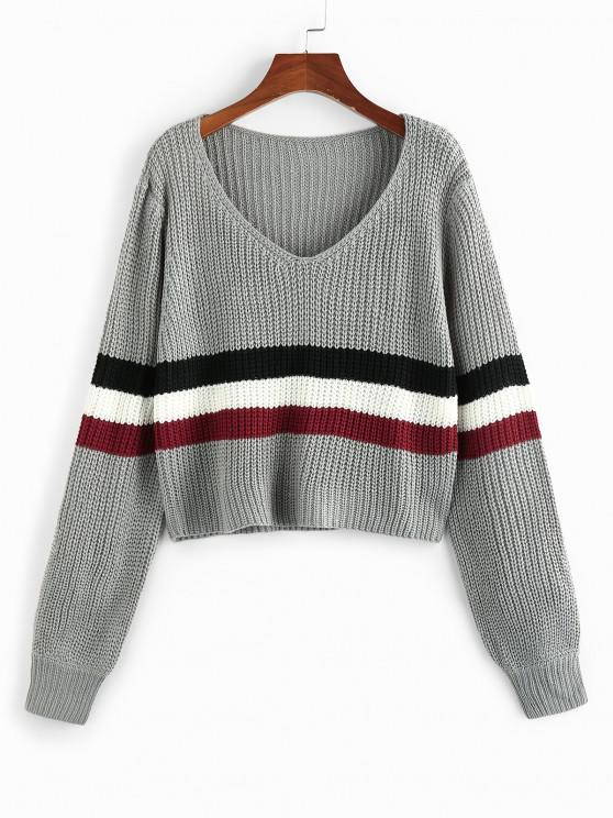 hot ZAFUL Wide Striped V Neck Jumper Sweater - LIGHT GRAY L