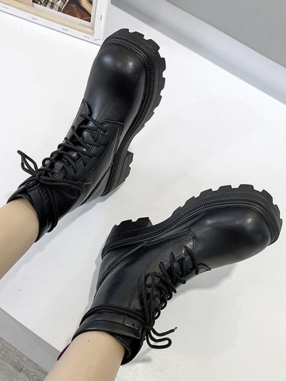 chic High-top Lace Up Boots - BLACK EU 39