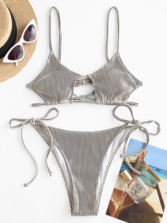 ZAFUL Textured Ribbed Cutout Tie String Bikini Swimwear - أبيض M