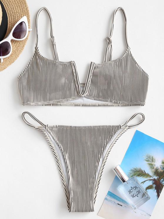 ZAFUL Textured Ribbed V Wired Bikini Swimwear - أبيض L