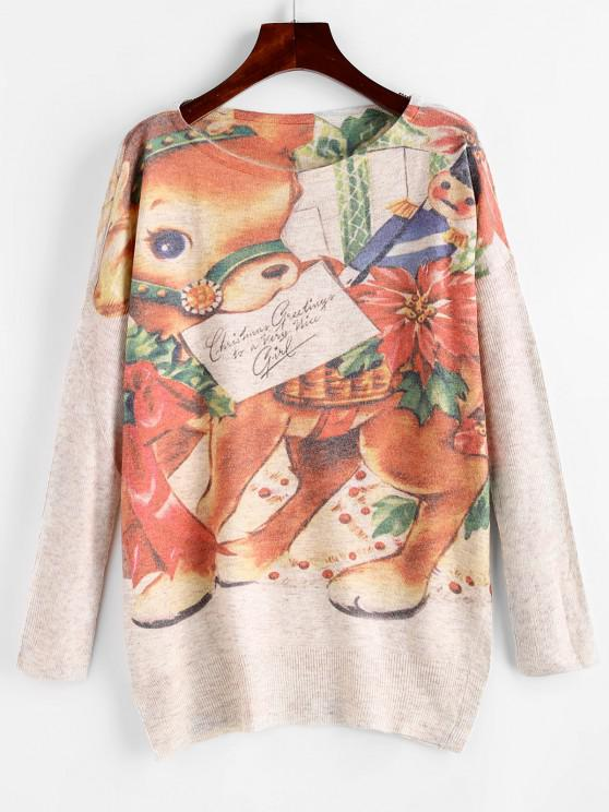 fashion Heathered Elk Graphic Christmas Sweater - LIGHT COFFEE ONE SIZE
