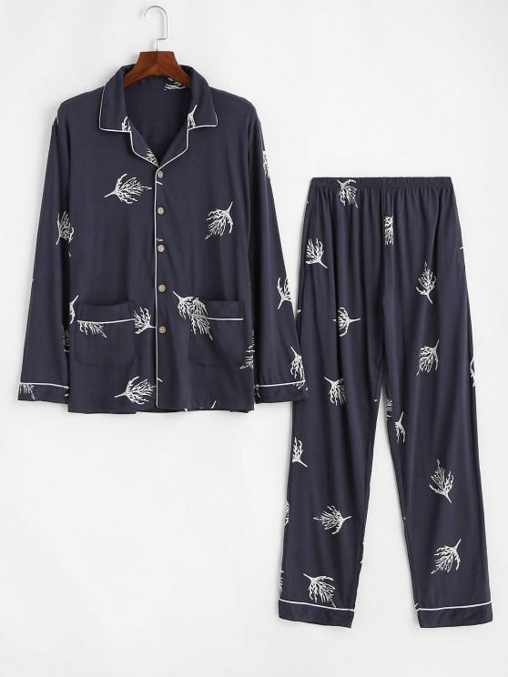 Leaf Pattern Double Pockets Pajama Set - ازرق غامق XS