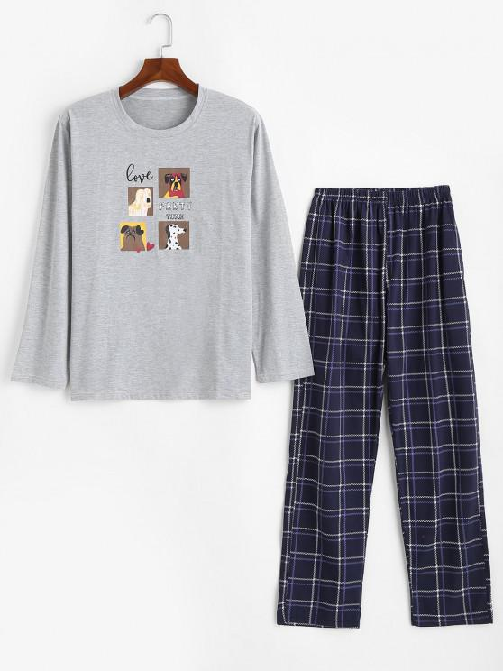 Dog Love Party Time Pattern Pajama Set - رمادي فاتح M