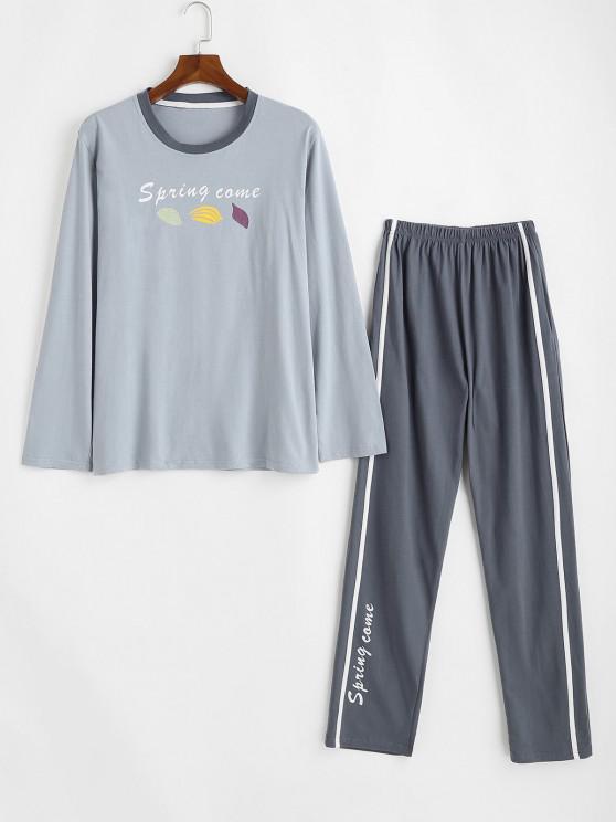 Spring Came Leaf Pattern Pajama Set - اللون الرمادي S
