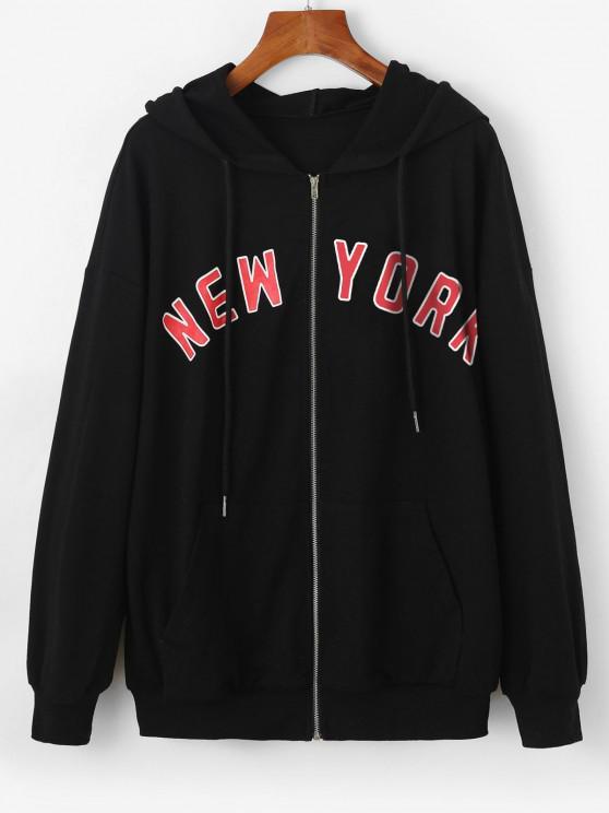 women's ZAFUL Hooded Drop Shoulder Letter Pocket Jacket - BLACK M