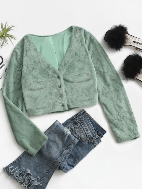 ZAFUL Fluffy Cropped Faux Fur Coat - اخضر فاتح S