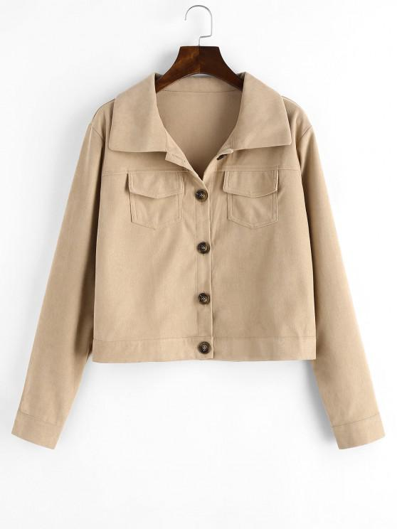 ladies Flap Pockets Button Up Cargo Shacket - LIGHT COFFEE XL