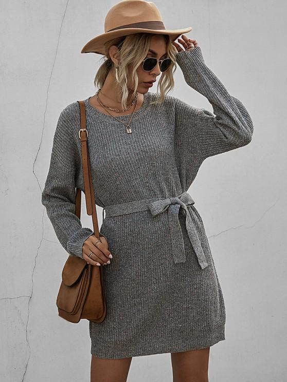 Belted Heathered Mini Sweater Dress - اللون الرمادي L