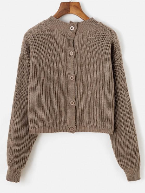 Kurz Geschnittene Pullover mit V Ausschnitt und Knopfleiste - Tiefkaffee Eine Größe