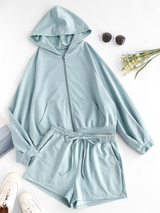 ladies ZAFUL Zip Up Hoodie and Drawstring Shorts Two Piece Set - PALE BLUE LILY S
