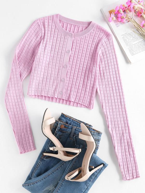 hot ZAFUL Button Up Pointelle Knit Wide Rib Cardigan - LIGHT PURPLE S