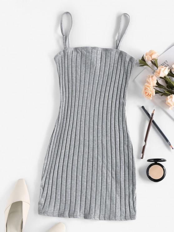 womens ZAFUL Ribbed Open Back Bodycon Dress - ASH GRAY XL