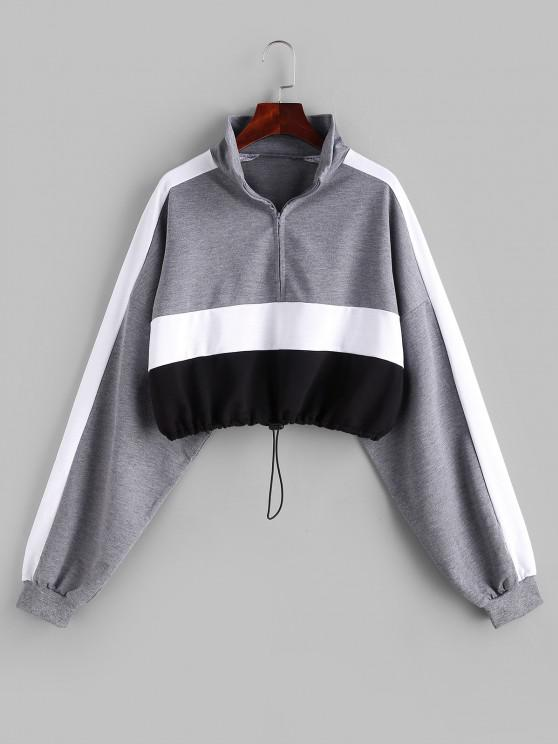 lady Colorblock Half Zip Toggle Drawstring Sweatshirt - MULTI XS