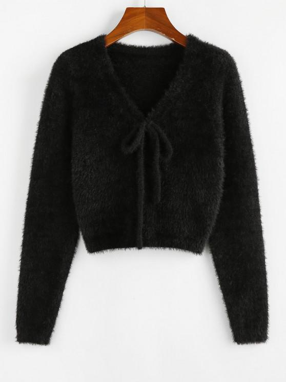 outfits ZAFUL Fuzzy Bowknot V Neck Jumper Sweater - BLACK S