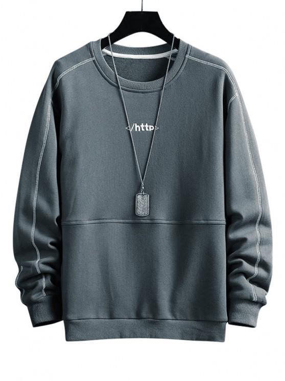 Letter Embroidery Stitching Raglan Sleeve Sweatshirt - الرمادي الداكن S