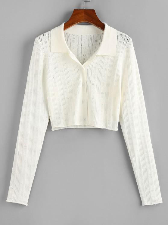 affordable ZAFUL Rolled Hem Pointelle Knit Crop Cardigan - WHITE M