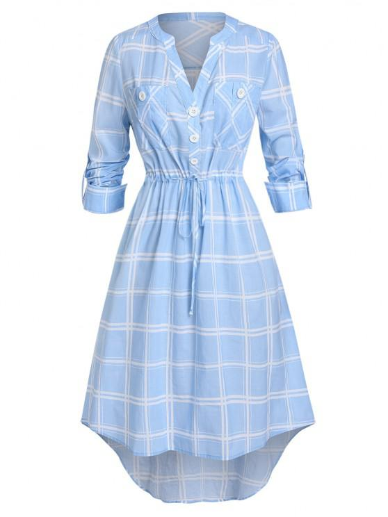 women's Plus Size Plaid Drawstring Rolled Up Sleeve V Notch Dress - SEA BLUE L