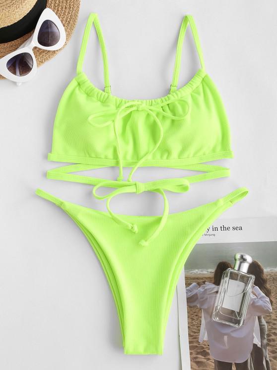 ZAFUL Textured Tie Tanga Bikini Swimwear - الزمرد الأخضر S