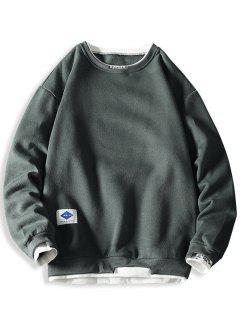 Letter Embroidery Contrast Stepped Hem Sweatshirt - Dark Gray L