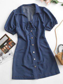 ZAFUL Chambray Button Up Tied Mini Dress - Deep Blue L