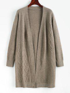 Textured Open Front Solid Cardigan - Gray