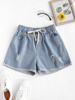 Drawstring Ripped Cuffed Hem Denim Shorts - Blue