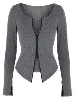 ZAFUL Two Way Zipper Asymmetric Ribbed Cardigan - Dark Gray M