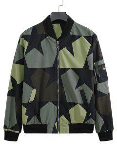 Veste De Baseball Camouflage Zippée Etoile Imprimée Avec Multi-Poches - Noir Xl
