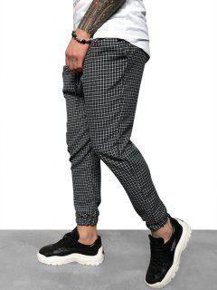 Casual Tattersall Plaid Print Pencil Jogger Pants - Black S