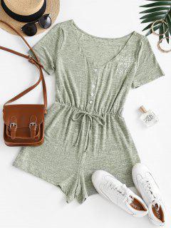 Mono Femenino De Pijama Con Lazo Con Mangas Cortas - Verde Claro M
