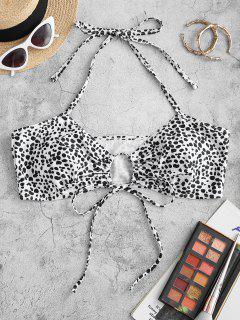 ZAFUL Plus Size Halter Dalmatian Dot Self-tie Bikini Top - White Xl