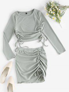 ZAFUL Rib-knit Cinched Two Piece Dress - Light Green S