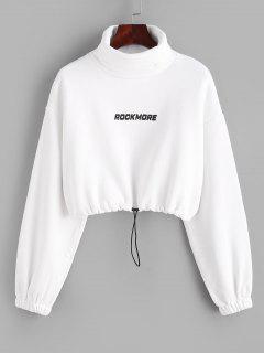 Turtleneck ROCKMORE Graphic Cropped Sweatshirt - White L