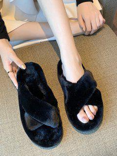 Criss Cross Plush Platform Slippers - Black Eu 38