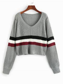 ZAFUL Wide Striped V Neck Jumper Sweater - Light Gray S