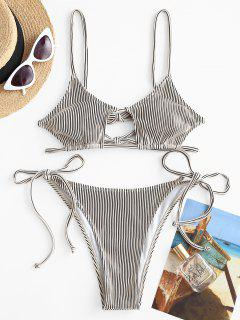 ZAFUL Textured Ribbed Cutout Tie String Bikini Swimwear - White M