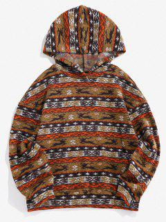 ZAFUL Christmas Elk Geo Fleece Jersey Hoodie - Coffee S