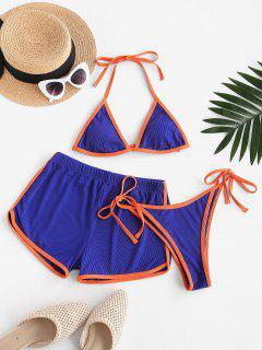 ZAFUL Halter Binding Ribbed Three Piece Bikini Swimsuit - Blue M