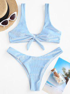 ZAFUL Ribbed Velvet Knot Bikini Swimwear - Light Blue S