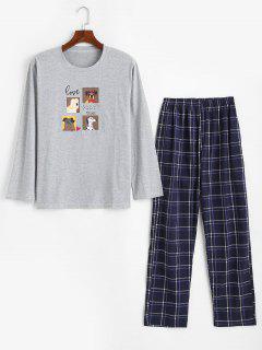 Dog Love Party Time Pattern Pajama Set - Light Gray L