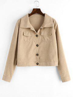 Flap Pockets Button Up Cargo Shacket - Light Coffee S