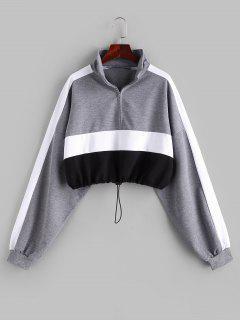 Farbblock Sweatshirt Mit Halbem Reißverschluss - Multi Xs
