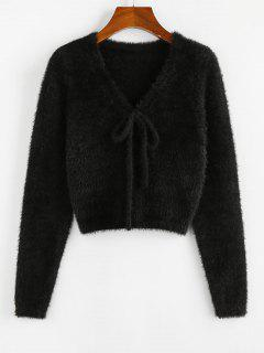 ZAFUL Fuzzy Bowknot V Neck Jumper Sweater - Black S