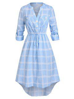 Plus Size Plaid Drawstring Rolled Up Sleeve V Notch Dress - Sea Blue L