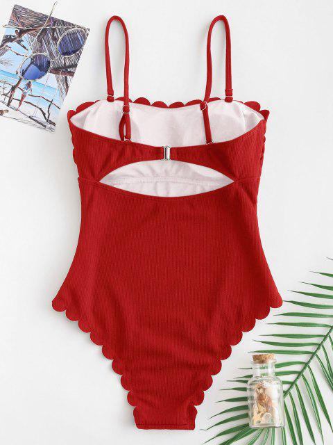 shops ZAFUL Ribbed Scalloped Cami Swimsuit - RED M Mobile