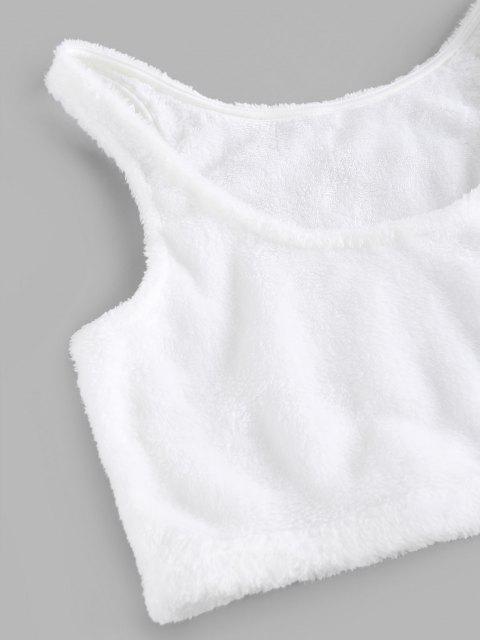 outfit ZAFUL Lounge Plush Straight Pants Set - WHITE XL Mobile