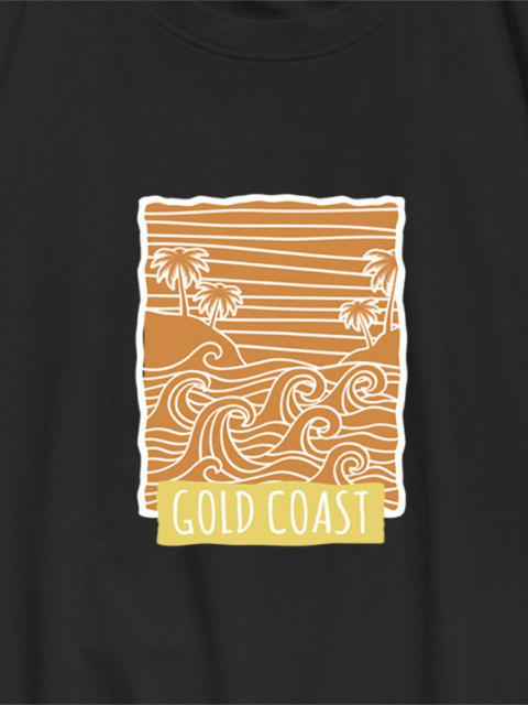 lady ZAFUL GOLD COAST Palm Tree Waves Print Basic T-shirt - BLACK L Mobile